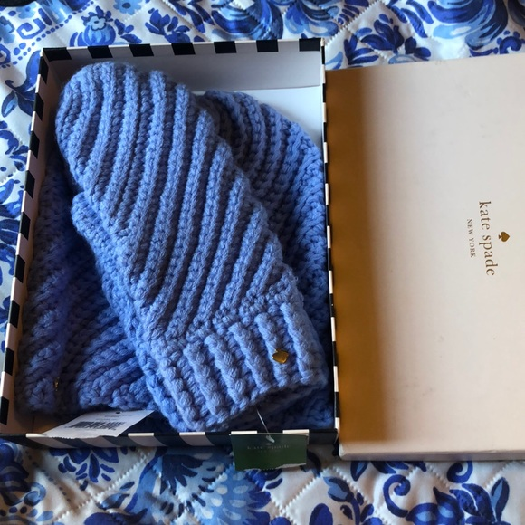 kate spade Accessories - NWT Kate Spade beanie& mitts set periwinkle blue